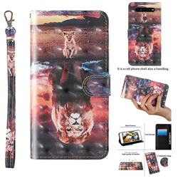 Fantasy Lion 3D Painted Leather Wallet Case for LG K51S