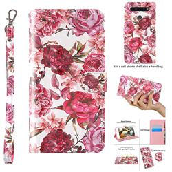 Red Flower 3D Painted Leather Wallet Case for LG K51S