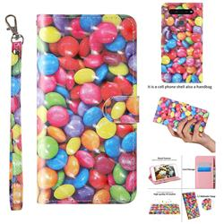 Colorful Jelly Beans 3D Painted Leather Wallet Case for LG K51S