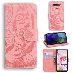 Intricate Embossing Tiger Face Leather Wallet Case for LG K51S - Pink