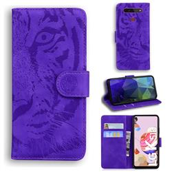 Intricate Embossing Tiger Face Leather Wallet Case for LG K51S - Purple