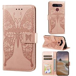 Intricate Embossing Rose Flower Butterfly Leather Wallet Case for LG K51S - Rose Gold