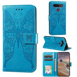 Intricate Embossing Rose Flower Butterfly Leather Wallet Case for LG K51S - Blue