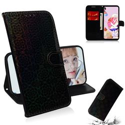 Laser Circle Shining Leather Wallet Phone Case for LG K51S - Black