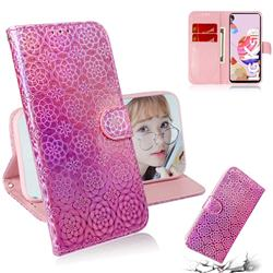 Laser Circle Shining Leather Wallet Phone Case for LG K51S - Pink