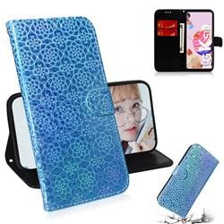 Laser Circle Shining Leather Wallet Phone Case for LG K51S - Blue