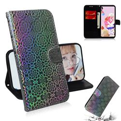 Laser Circle Shining Leather Wallet Phone Case for LG K51S - Silver