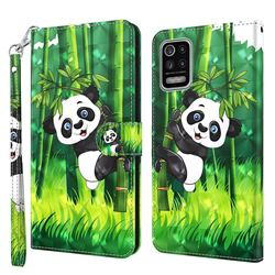 Climbing Bamboo Panda 3D Painted Leather Wallet Case for LG K52 K62 Q52