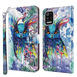 Watercolor Owl 3D Painted Leather Wallet Case for LG K52 K62 Q52