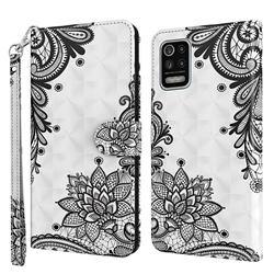 Black Lace Flower 3D Painted Leather Wallet Case for LG K52 K62 Q52