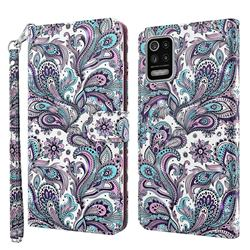 Swirl Flower 3D Painted Leather Wallet Case for LG K52 K62 Q52
