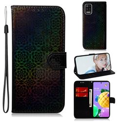 Laser Circle Shining Leather Wallet Phone Case for LG K52 K62 Q52 - Black