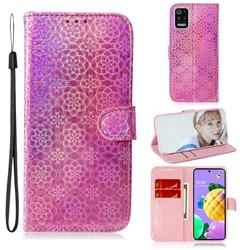 Laser Circle Shining Leather Wallet Phone Case for LG K52 K62 Q52 - Pink