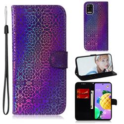 Laser Circle Shining Leather Wallet Phone Case for LG K52 K62 Q52 - Purple