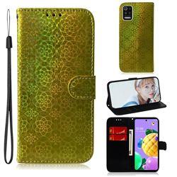 Laser Circle Shining Leather Wallet Phone Case for LG K52 K62 Q52 - Golden