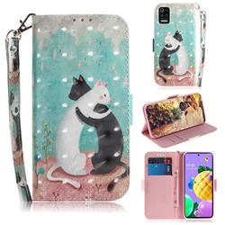 Black and White Cat 3D Painted Leather Wallet Phone Case for LG K52 K62 Q52