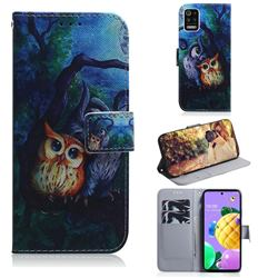 Oil Painting Owl PU Leather Wallet Case for LG K52 K62 Q52