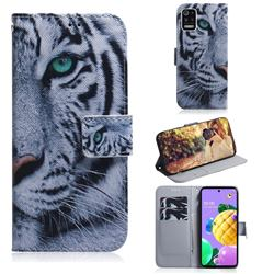 White Tiger PU Leather Wallet Case for LG K52 K62 Q52