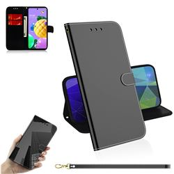 Shining Mirror Like Surface Leather Wallet Case for LG K52 K62 Q52 - Black