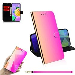 Shining Mirror Like Surface Leather Wallet Case for LG K52 K62 Q52 - Rainbow Gradient
