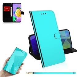 Shining Mirror Like Surface Leather Wallet Case for LG K52 K62 Q52 - Mint Green
