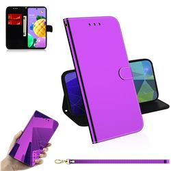 Shining Mirror Like Surface Leather Wallet Case for LG K52 K62 Q52 - Purple
