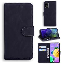 Retro Classic Skin Feel Leather Wallet Phone Case for LG K52 K62 Q52 - Black