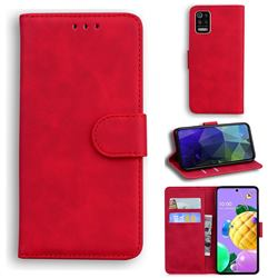 Retro Classic Skin Feel Leather Wallet Phone Case for LG K52 K62 Q52 - Red
