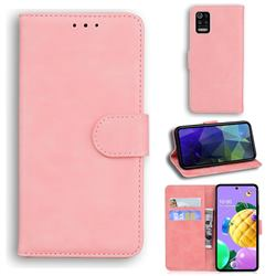 Retro Classic Skin Feel Leather Wallet Phone Case for LG K52 K62 Q52 - Pink