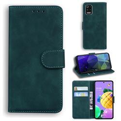 Retro Classic Skin Feel Leather Wallet Phone Case for LG K52 K62 Q52 - Green