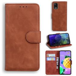 Retro Classic Skin Feel Leather Wallet Phone Case for LG K52 K62 Q52 - Brown