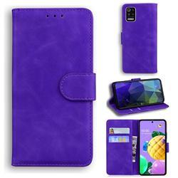 Retro Classic Skin Feel Leather Wallet Phone Case for LG K52 K62 Q52 - Purple