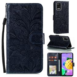 Intricate Embossing Lace Jasmine Flower Leather Wallet Case for LG K52 K62 Q52 - Dark Blue