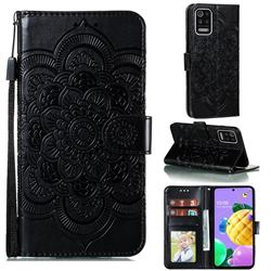 Intricate Embossing Datura Solar Leather Wallet Case for LG K52 K62 Q52 - Black