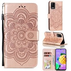 Intricate Embossing Datura Solar Leather Wallet Case for LG K52 K62 Q52 - Rose Gold