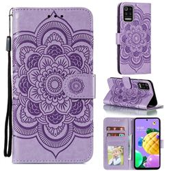Intricate Embossing Datura Solar Leather Wallet Case for LG K52 K62 Q52 - Purple