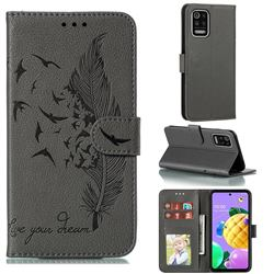 Intricate Embossing Lychee Feather Bird Leather Wallet Case for LG K52 K62 Q52 - Gray