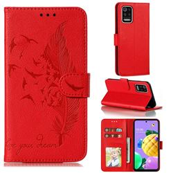 Intricate Embossing Lychee Feather Bird Leather Wallet Case for LG K52 K62 Q52 - Red