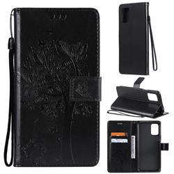 Embossing Butterfly Tree Leather Wallet Case for LG K52 K62 Q52 - Black