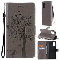 Embossing Butterfly Tree Leather Wallet Case for LG K52 K62 Q52 - Grey
