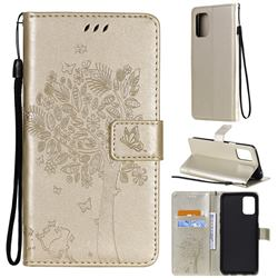 Embossing Butterfly Tree Leather Wallet Case for LG K52 K62 Q52 - Champagne