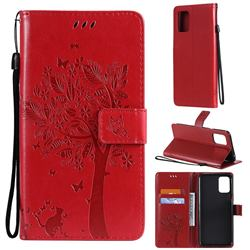 Embossing Butterfly Tree Leather Wallet Case for LG K52 K62 Q52 - Red