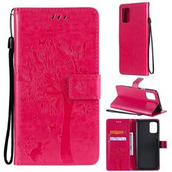 Embossing Butterfly Tree Leather Wallet Case for LG K52 K62 Q52 - Rose