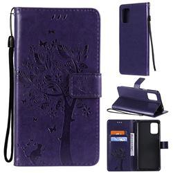 Embossing Butterfly Tree Leather Wallet Case for LG K52 K62 Q52 - Purple