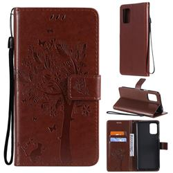 Embossing Butterfly Tree Leather Wallet Case for LG K52 K62 Q52 - Coffee