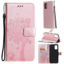 Embossing Butterfly Tree Leather Wallet Case for LG K52 K62 Q52 - Rose Pink