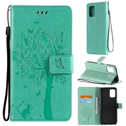 Embossing Butterfly Tree Leather Wallet Case for LG K52 K62 Q52 - Cyan