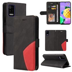 Luxury Two-color Stitching Leather Wallet Case Cover for LG K52 K62 Q52 - Black