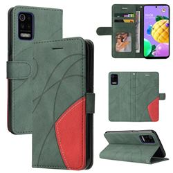Luxury Two-color Stitching Leather Wallet Case Cover for LG K52 K62 Q52 - Green