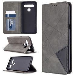 Prismatic Slim Magnetic Sucking Stitching Wallet Flip Cover for LG K61 - Gray